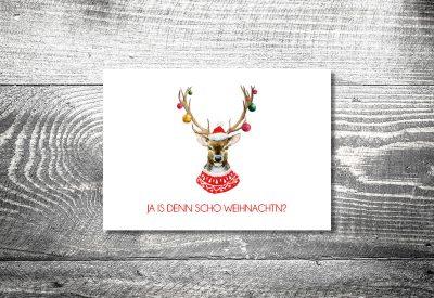 kartlerei weihnachtskarten bayrische weihnachtskarten hirsch christbaumkugeln 400x275 - Weihnachtskarten auf bayrisch