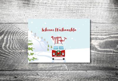kartlerei weihnachtskarten bayrische weihnachtskarten vwbus foto rosi 400x275 - Weihnachtskarten auf bayrisch