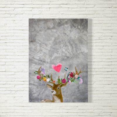 Poster/Bild Flower Power Hirsch