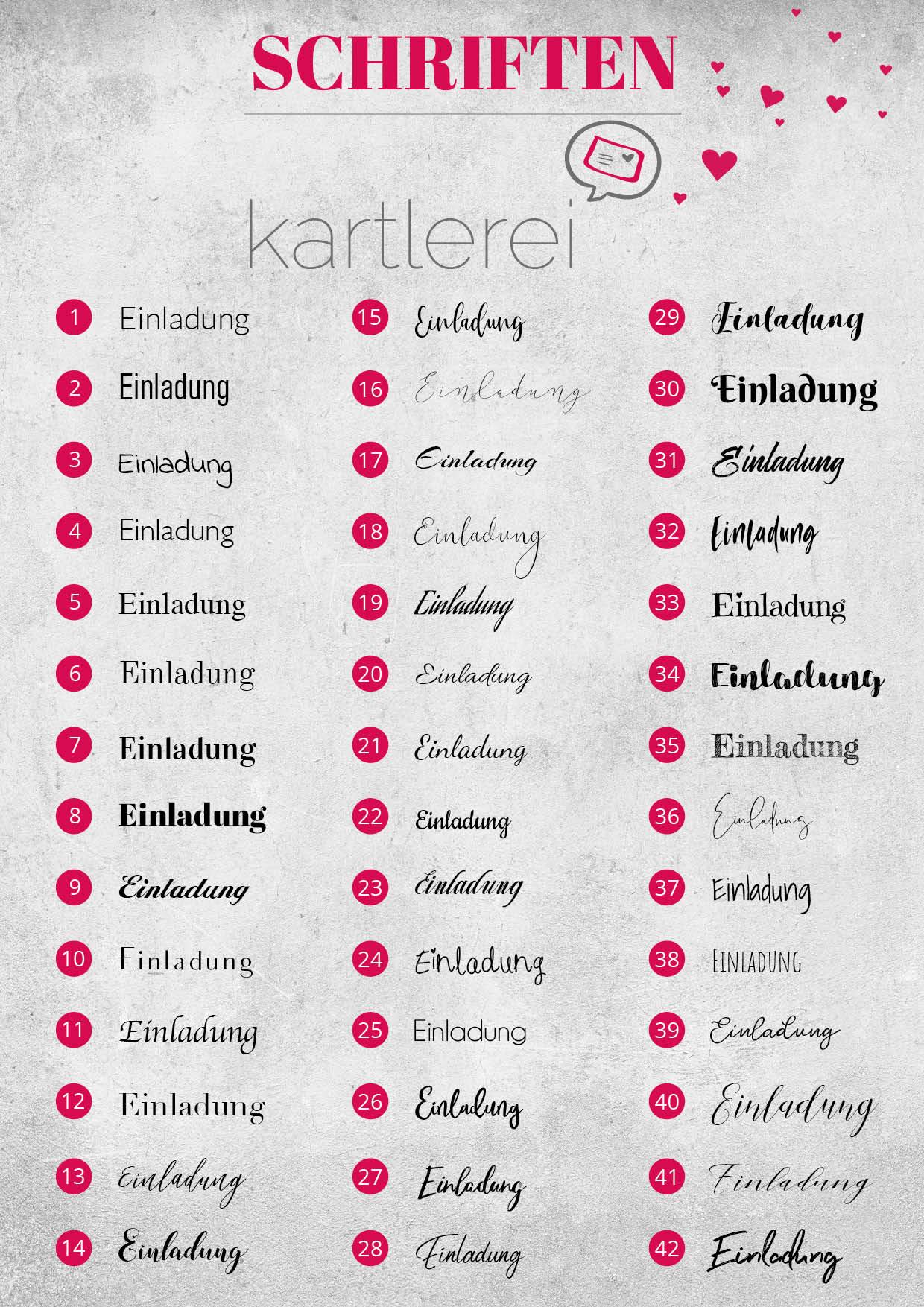 kartlerei schriften 2022 - Schriftenauswahl