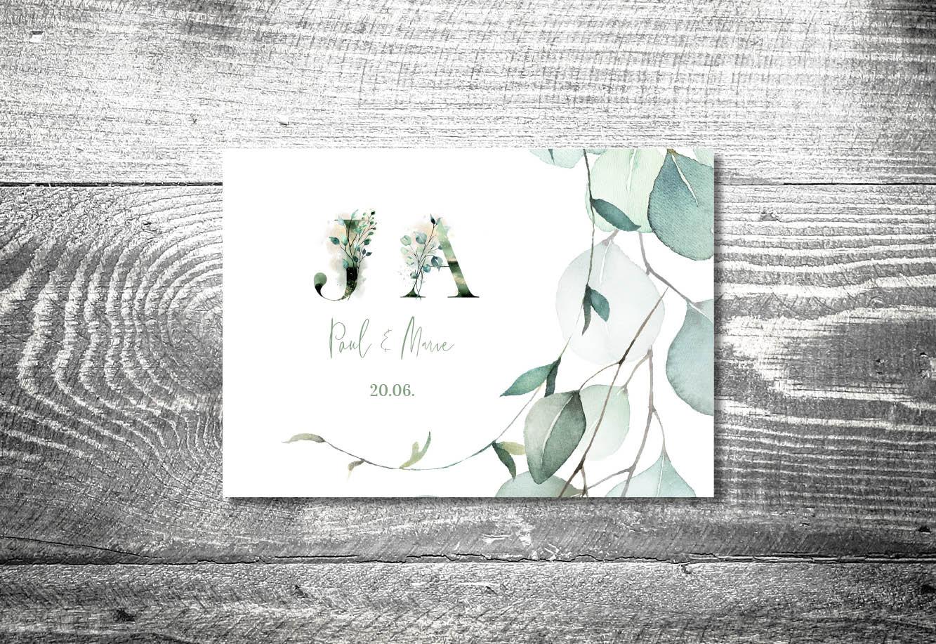 kartlerei bayrische einladungskarten hochzeitseinladung eukalyptus3 - Hochzeitskarten Set