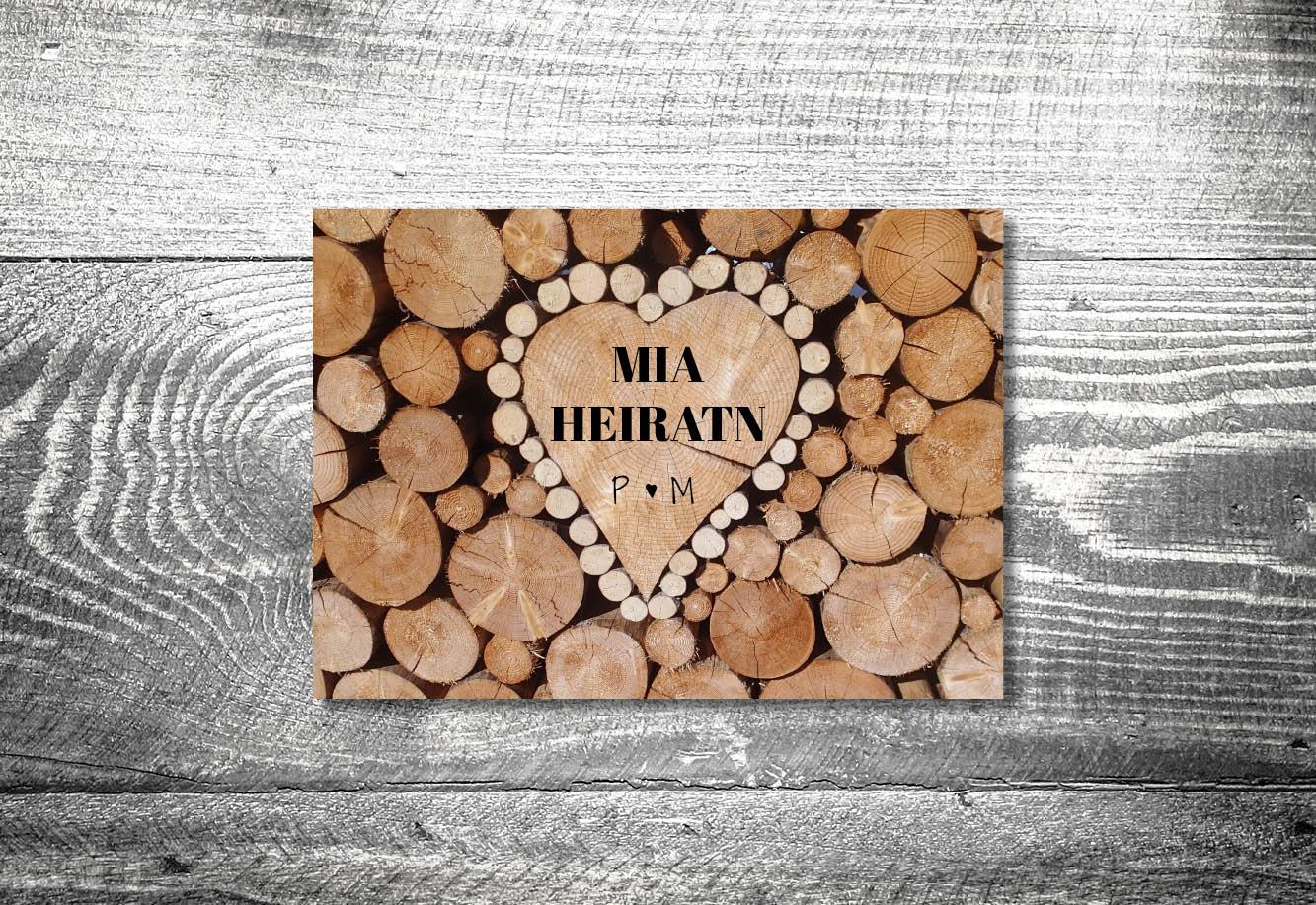 kartlerei bayrische einladungskarten hochzeitseinladung holzliebe - Hochzeitskarten Set