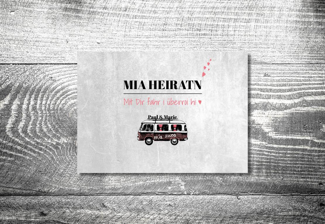 kartlerei bayrische einladungskarten bulliliebe vwbus einladung hochzeit - Hochzeitskarten Set