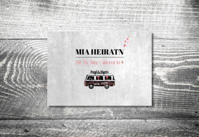 kartlerei bayrische einladungskarten bulliliebe vwbus einladung hochzeit3 400x275 - Trachtenhochzeit