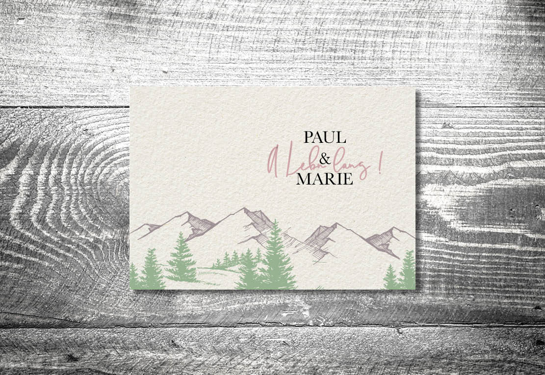 kartlerei bayrische einladungskarten hochzeit hochzeitskarten berge a lebn lang7 - Hochzeitskarten Set