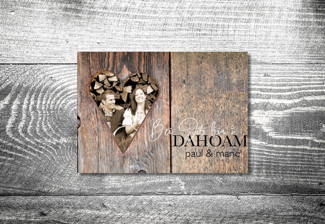 kartlerei bayrische einladungskarten hochzeit hochzeitskarten holz bei dir bin i dahoam - Hochzeitskarten Set