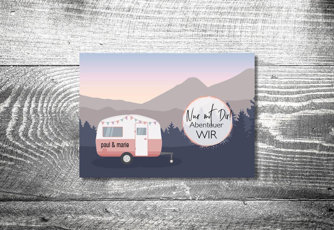 kartlerei bayrische einladungskarten hochzeit hochzeitskarten wohnwagen camping nur mit dir abenteuer wir - Hochzeitskarten Set