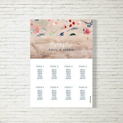 Tischplan Hochzeit Blütenliebe