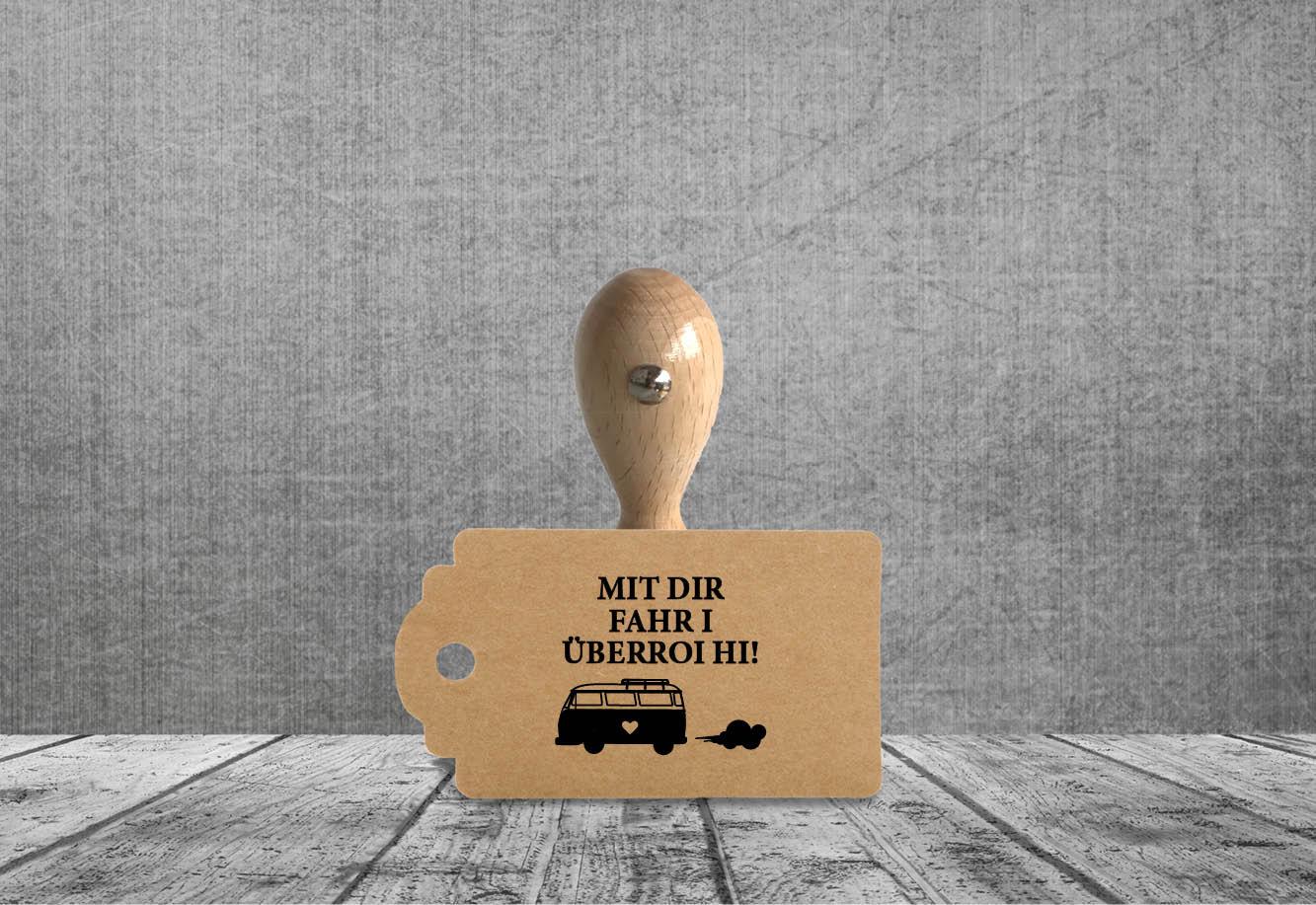 kartlerei stempel holzstempel rund hochzeit bulli bus vanlife - Holzstempel