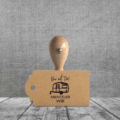 Holzstempel Nur mit Dir | Wohnwagen