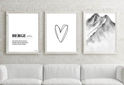 Poster set berge herzl 400x275 - Poster & Bilder