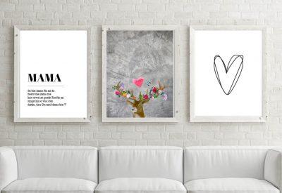 Poster set mama flower power hirsch 400x275 - Poster & Bilder