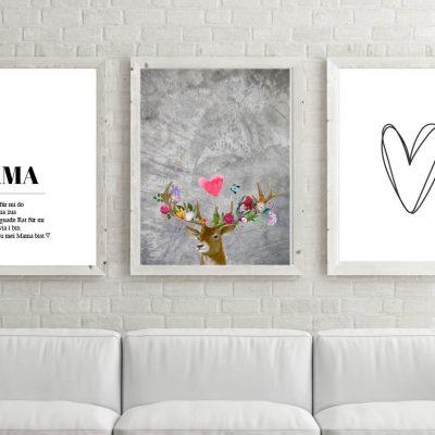 Poster-Set Mama Flower-Power-Hirsch