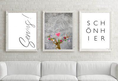 Poster set servus flower power hirsch 400x275 - Poster & Bilder