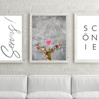 Poster-Set Servus Flower Power Hirsch