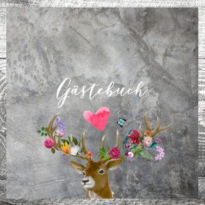 Gästebuch Flower-Power-Hirsch