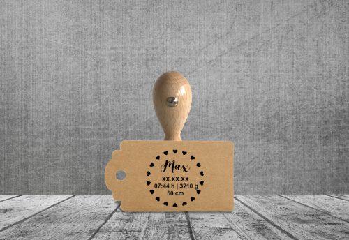 Holzstempel Baby Daten Herzl