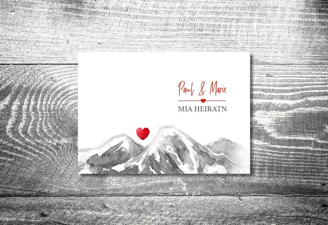 Karten auf Holz Hochzeit berge bergherzl3 - Hochzeitskarten Set