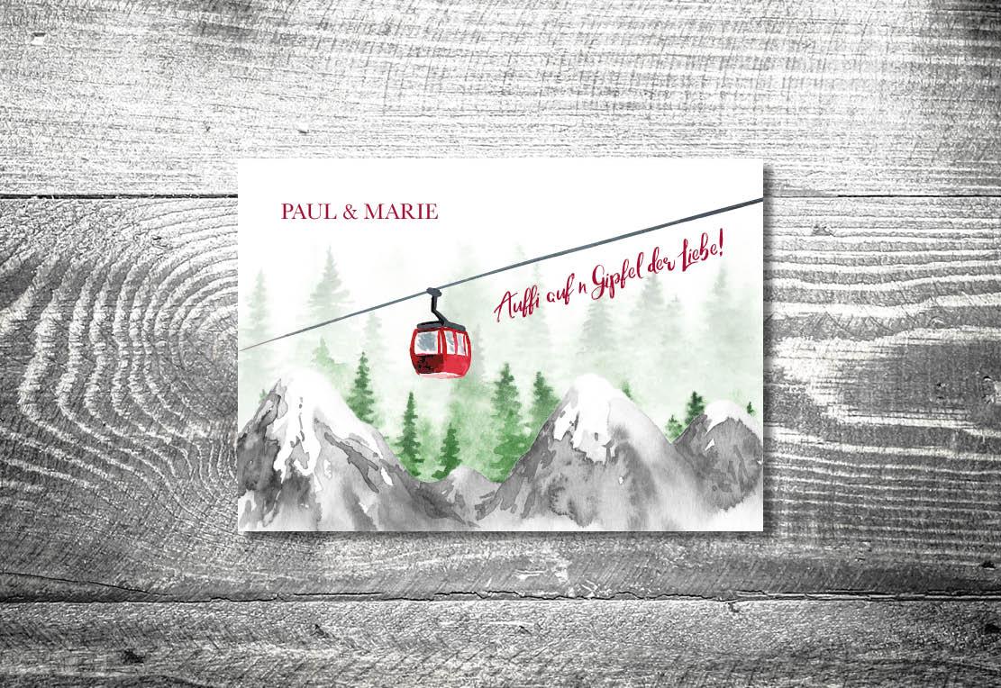 Karten auf Holz Hochzeit gondelliebe bergliebe3 - Hochzeitskarten Set