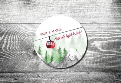 kartlerei bayrische einladungskarten bierdekckel bayern heimat berge bergliebe gondel bergbahn 400x275 - Bayrischer Text für die Hochzeitseinladung