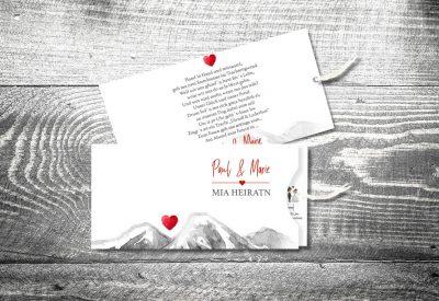 kartlerei bayrische einladungskarten einsteckkarte bergherzl 400x275 - Trachtenhochzeit