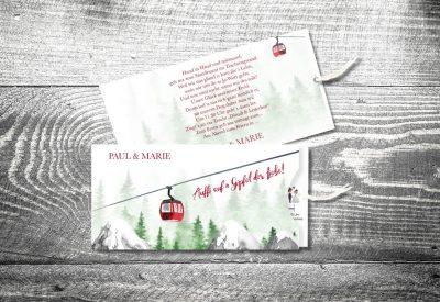 kartlerei bayrische einladungskarten einsteckkarte gondelliebe 400x275 - Trachtenhochzeit