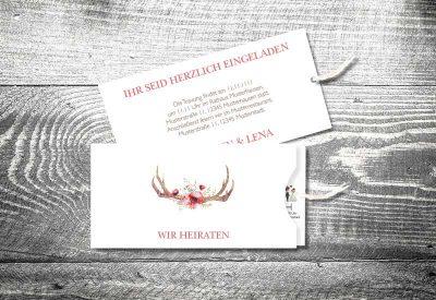 kartlerei einsteckkarten bayrische hochzeitseinladung floralgeweih 400x275 - Trachtenhochzeit